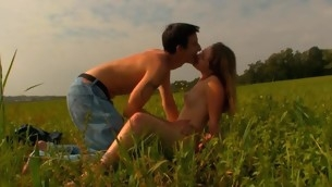 Legal Majority Teenager boobs has decided to spend nightfall making out on the grass