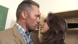 Silly schoolgirl serves a pulsating schlong of a older dude