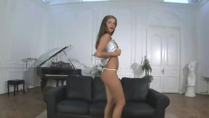 Loved angel stands in different poses during masturbation