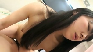 Pal licks, fingers and bonks unshaved fur pie of girlie exotic Asia