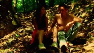 Forest becomes duo more location for sexual intercourse with a tasteless nearby force age teenager hottie