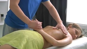 Adorable little one gets lusty poundings after having massage