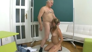 Horny teacher is pounding beauty elbow the kitchenette counter