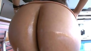 Cute playgirl stands close to different poses getting booty banged