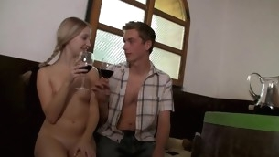 Nasty blond likes enjoying sexual intercourse indoors with agile partner